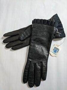 NWT Women's PORTOLANO Genuine Kid Leather Gloves Cashmere Lined Sz 7 BLACK