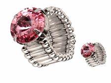 Schmuck Ring mit Swarovski Stein 1,3cm Rosa und dehnbaren Fingering 1cm, Ø 2cm
