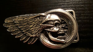totenkopf + flügel gürtelschnalle buckle schließe hells angels wechselgürtel 4cm