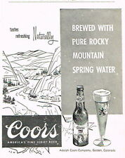 Scarce 1959 Coors Beer Dealer ad 4¼ x 5¼ inch Colorado Tavern Trove