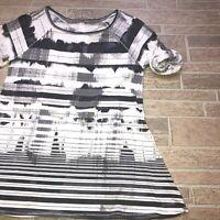 calvin klein performance Womens Top Sz Medium Quick Dry Gray Stripe Roll Sleeve