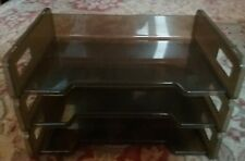 Vintage office Rubbermaid smoke gray Letter Tray 3 Tier Plastic  2521-2 RCP