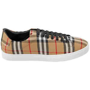 Burberry Vintage Check And Leather Sneakers In Antique Yellow