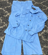 New listing Montgomery Ward Blue 2 Piece Mens Polyester Suit Retro Vintage 70's 40L 32 X 34