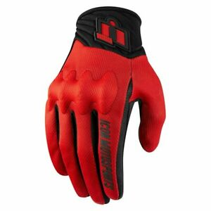 ICON - ANTHEM Motorcycle Glove - RED - PICK YOUR SIZE -D30 Knuckle- CE Approved
