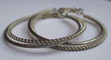 boucles d'oreilles percées bijou vintage couleur argent anneaux doubles 2745