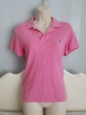 Ralph Lauren The Skinny Polo Shirt in Pink with Blue Stitch Logo, Women's Large