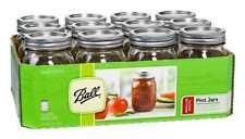 Ball Pint Mason Canning Jars Glass 16oz Lids Regular Mouth Preserving Lot of 12