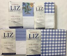 Liz Claiborne Blue White Check Sheet Set Twin New Extra Coordinated Floral Sheet
