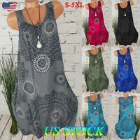 Womens Boho Sundress Midi Length Summer Evening Cocktail Party Beach Dress Size
