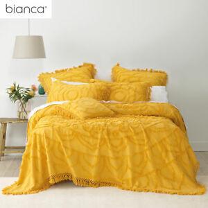 Santorini Mustard Cotton Chenille Bedspread Set or Accessories by Bianca