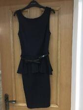 Womens Asos Peplum Navy Dress With Bow Belt Size 6