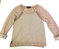 Sanctuary Heathered Pink Crochet Textured Sweater Pullover Small