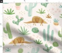 Armadillo Desert Watercolor Cactus Southwest Spoonflower Fabric by the Yard