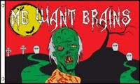 "ZOMBIE 3X5' FLAG BANNER HALLOWEEN ""ME WANT BRAINS"" NEW IN PACKAGE ZOMBIES ZOMBY"