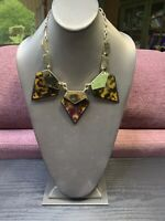 Vtg Bib Statement Necklace Imitation Tortoise Shell Amber Beaded Strand  16""