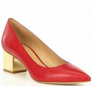 Michael Kors Womens Petra Low Pump Metallic Block Heel Shoe Leather Red Size 7.5