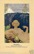 Bergfrühling Frühling Druck von 1914 Erler Frankenstein weiblicher Akt Bohsen