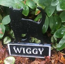 ANY NAME PET MEMORIAL PLAQUE HAND CAST ALUMINIUM CAT OR DOG SILHOUETTE ON STAKE