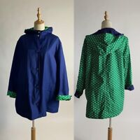 TALBOTS Reversible Polka Dot Hooded Jacket 1X Green Navy