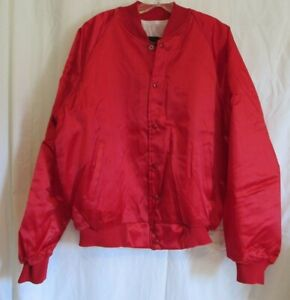 Bridgeport Red Satin Snap Down Blank Long Sleeve Lined Jacket Large 42-44 NWOT