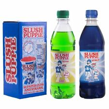 Slush Puppie Blue Raspberry, Lime 500ml Syrup & 20 Cup and Straw Set