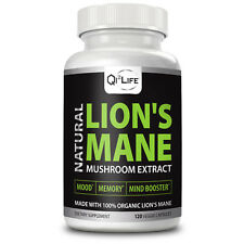 Organic Lion's Mane Mushroom Extract Supplement 120 Capsules 500mg NO Fillers