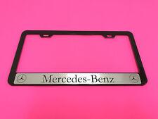 MERCEDES Halo - BLACK Powder Coated Metal License Plate Frame w/Screw caps 14-17