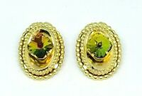 Watermelon Rivoli Rhinestone Gold Tone Oval Clip Earrings Vintage