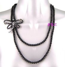 Black Deco Mayfly Dragonfly Butterfly, French Jet Necklace W/ Swarovski Crystals