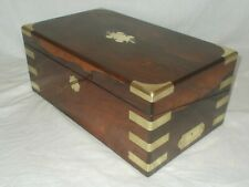 Antique Victorian c1850 Rosewood brass campaign style writing slope box