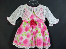 New Youngland Size 18 Months Pink White Green Dress With Straps & Bolero Jacket