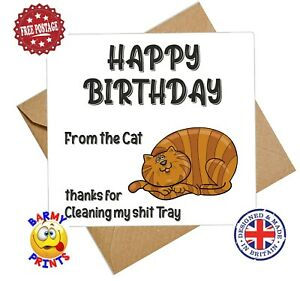 C178 HAPPY BIRTHDAY FROM THE CAT CLEANING SH*T FUNNY RUDE BIRTHDAY CARD