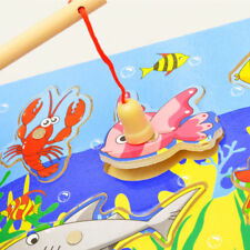 3D Magnetic Fishing Board Toy Wooden Mini Ocean Puzzle Educational For