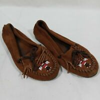 Minnetonka Womens Thunderbird II 173 Slippers Suede Brown Beaded Moccasins 8.5