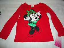 NEW DISNEY MINNIE MOUSE LONG SLEEVE SHIRT RED SIZE 4T