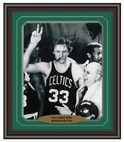 """Larry Bird Signed & Framed Celtics 16x20 """"Bird COA"""" w/ Auerbach Cigar Autograph"""