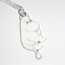 Kitsch Kawaii Enamel Moomin Troll Moomin White & silver Charm necklace