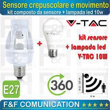SENSORE CREPUSCOLARE SENSORE DI MOVIMENTO E27 ATTACCO + LAMPADA LED 10W VTAC