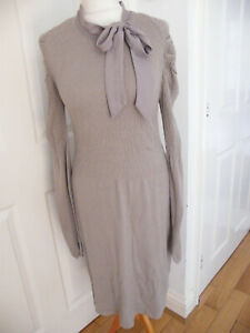 INTIMISSIMI DRESS SIZE 10 APX TAUPE MUSHROOM FAWN COLOUR KNIT CRINKLE STRETCH