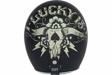 Torc Route 66 T50 Flat Black Lucky13 Bullhead Graphic 3/4 Open Face Helmet - S