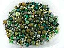 Vintage Japan German Huge Assortment Mix Green Color Styles Lucite Bead Lot