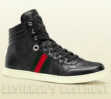 GUCCI Mens 12G* black CODA GUCCISSIMA leather High Top Sneakers NIB Auth $595