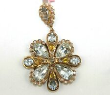 Pear Aquamarine Pendant W/ Diamond & Yellow Sapphire Accents 14K RG 28.75Ct