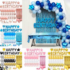 46x Geburtstagsdeko Rosegold Happy Birthday Girlande Ballons Tischdecke Vorhang