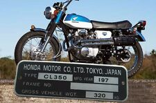 HONDA CL350 K4 Twin Data PLATE '70 era, engraving and shipping free