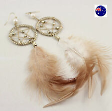 Women Lady Retro Star Feather Boho Bohemian Party Long dangle Ear Drop Earrings