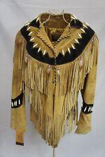 Native American Beaded Western Suede Leather Tan Tassel Jacket BNWT
