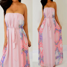 Forever 21 Pink Purple Yellow Blue Tube Strapless Chiffon Long Maxi Dress 3X