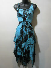 Dress Fits XL 1X 2X Plus Blue Black Corset Lace Up Waist Layered Hem NWT G209